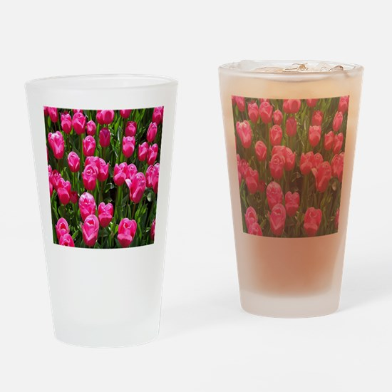 floral_pink_tulips Drinking Glass
