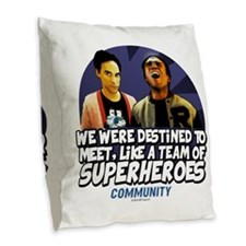 Troy and Abed Superheroes Burlap Throw Pillow