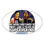 Troy and Abed Superheroes Sticker (Oval)