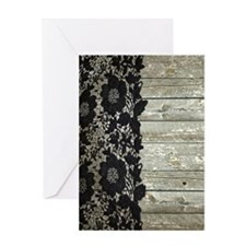 grey barn wood lace western country Greeting Cards