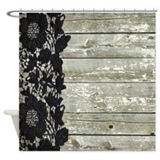 grey barn wood lace western country Shower Curtain