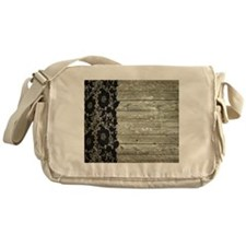 grey barn wood lace western country Messenger Bag