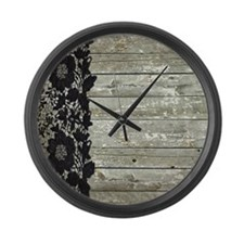 grey barn wood lace western country Large Wall Clo
