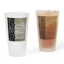 grey barn wood lace western country Drinking Glass