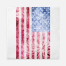 4th of July - American Firework Flag Queen Duvet