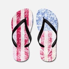 4th of July - American Firework Flag Flip Flops