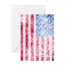 4th of July - American Firework Flag Greeting Card