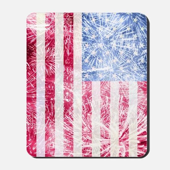 4th of July - American Firework Flag Mousepad