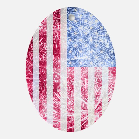 4th of July - American Firework Flag Oval Ornament