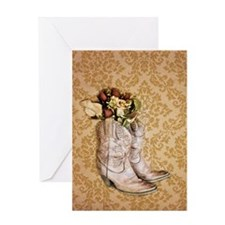 damask vintage cowboy boots floral Greeting Cards