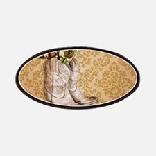 damask vintage cowboy boots floral Patches