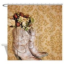 damask vintage cowboy boots floral Shower Curtain