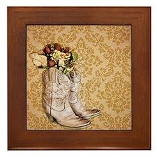 damask vintage cowboy boots floral Framed Tile