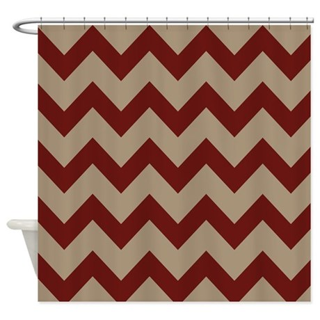 Burgundy And Tan Chevron Shower Curtain By Chevroncitypart2