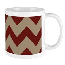 Burgundy and Tan Chevron Mugs