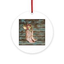 modern cowboy boots barn wood Ornament (Round)
