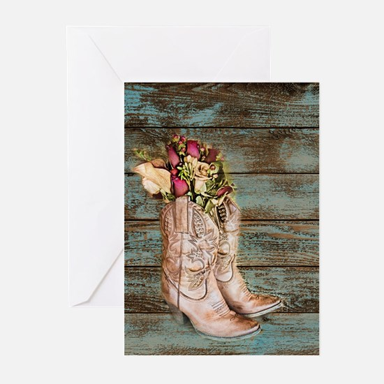 modern cowboy boots barn wood Greeting Cards