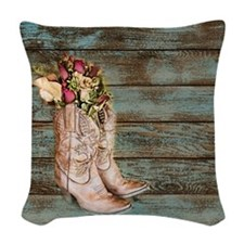modern cowboy boots barn wood Woven Throw Pillow