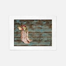 modern cowboy boots barn wood 5'x7'Area Rug