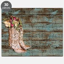 modern cowboy boots barn wood Puzzle