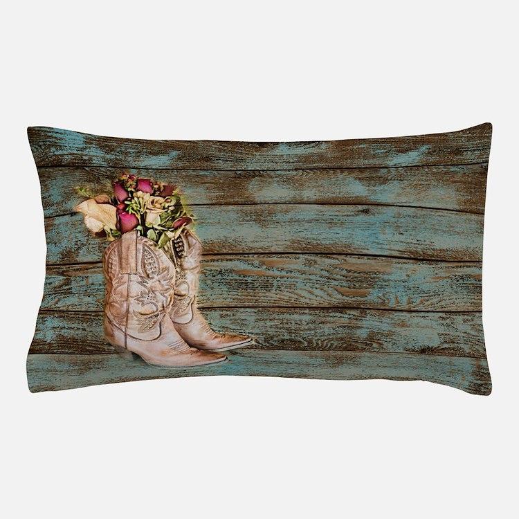 modern cowboy boots barn wood Pillow Case