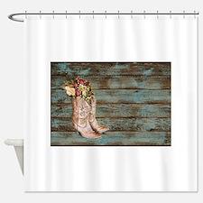 modern cowboy boots barn wood Shower Curtain