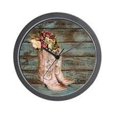 modern cowboy boots barn wood Wall Clock