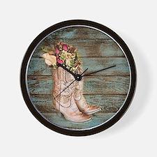 modern cowboy boots barn wood Wall Clock
