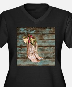 modern cowboy boots barn wood Plus Size T-Shirt