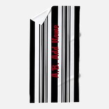 Chick Black Bold Stripe Personalized Beach Towel