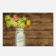 mason jar floral barn wood western country Postcar