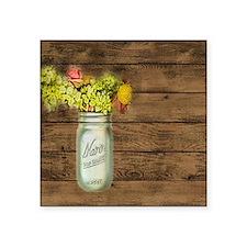 mason jar floral barn wood western country Sticker