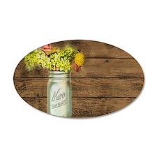 mason jar floral barn wood western country Decal W