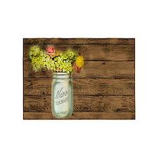 mason jar floral barn wood western country 5'x7'Ar