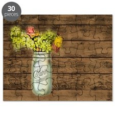 mason jar floral barn wood western country Puzzle
