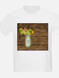 mason jar floral barn wood western country T-Shirt