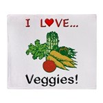 I Love Veggies Throw Blanket