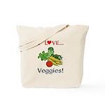 I Love Veggies Tote Bag