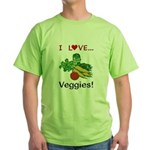 I Love Veggies Green T-Shirt