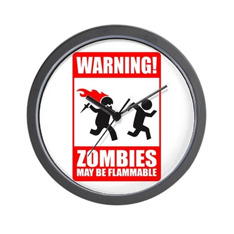 Zombies are Flammable Wall Clock