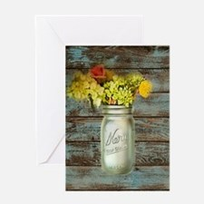 mason jar floral barn wood western country Greetin