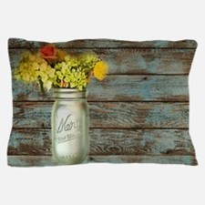 mason jar floral barn wood western country Pillow
