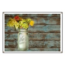 mason jar floral barn wood western country Banner
