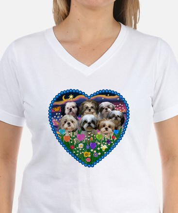 Shih Tzus in Heart Garden T-Shirt
