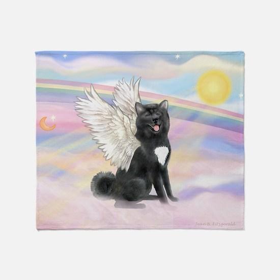 Black Akita Angel Throw Blanket