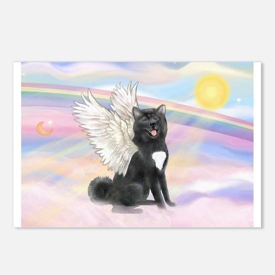 Black Akita Angel Postcards (Package of 8)