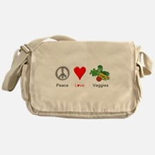 Peace Love Veggies Messenger Bag