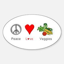 Peace Love Veggies Decal