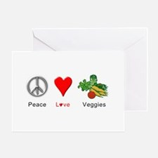 Peace Love Veggies Greeting Card