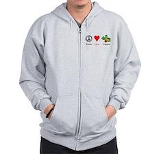 Peace Love Veggies Zip Hoodie